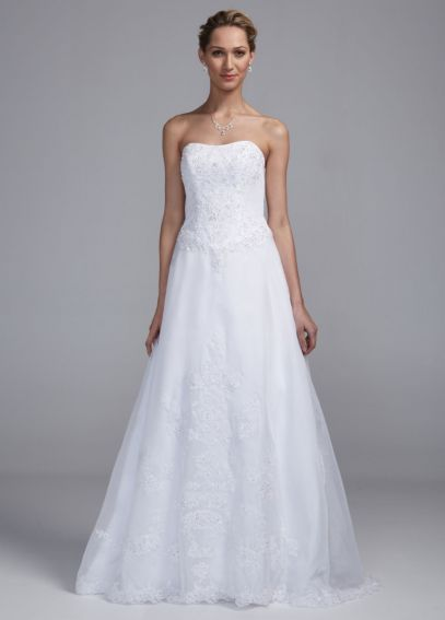 Strapless Organza A Line Gown with Lace Appliques ECX3451