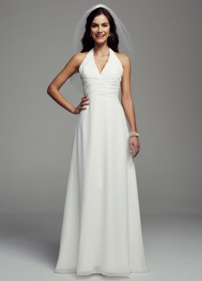 Chiffon Sheath Gown with Halter Neckline ECX9485