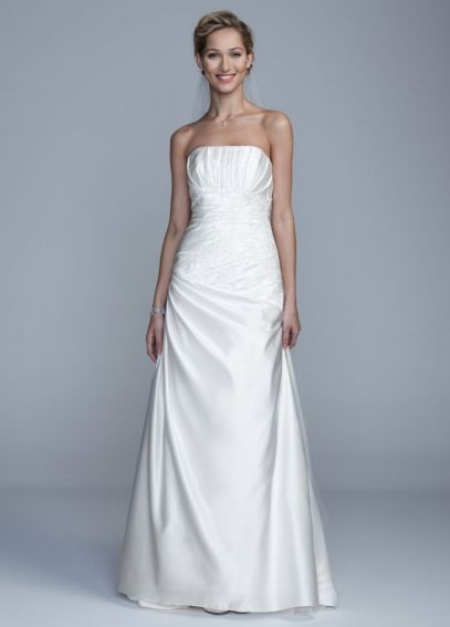 Strapless A Line Gown with Beaded Lace ECX9579