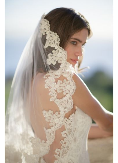 Freshwater Pearl and Alencon Lace Veil with Comb - Wedding Accessories