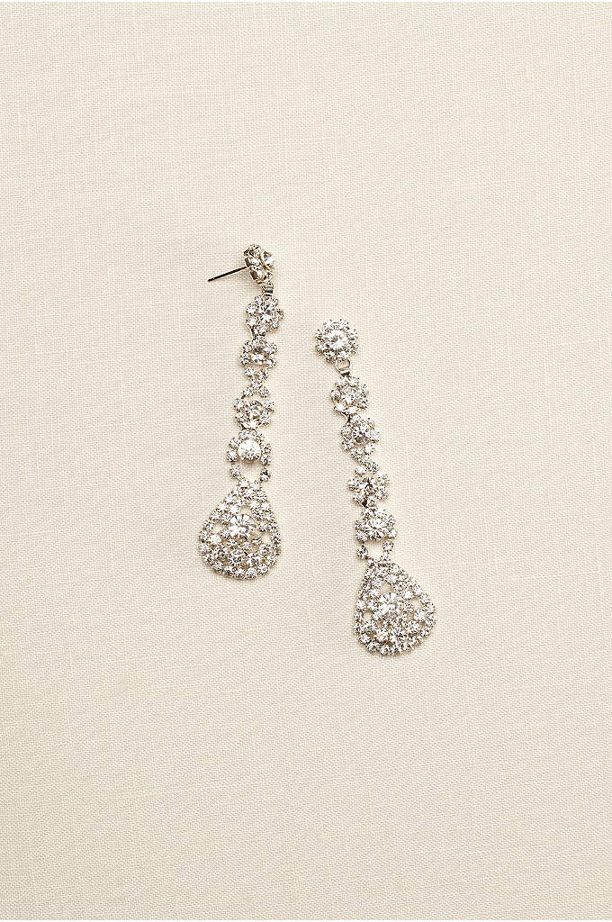Long Flower Crystal Earrings - These tear drop shoulder dusters will put the