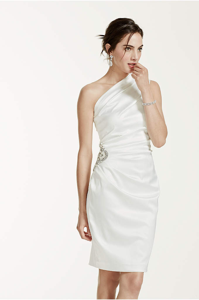 Stretch Satin One Shoulder Dress - This striking satin strech casual wedding dress is