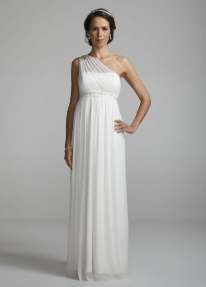 One Shoulder Mesh Gown with Beaded Waist EJ2M2626