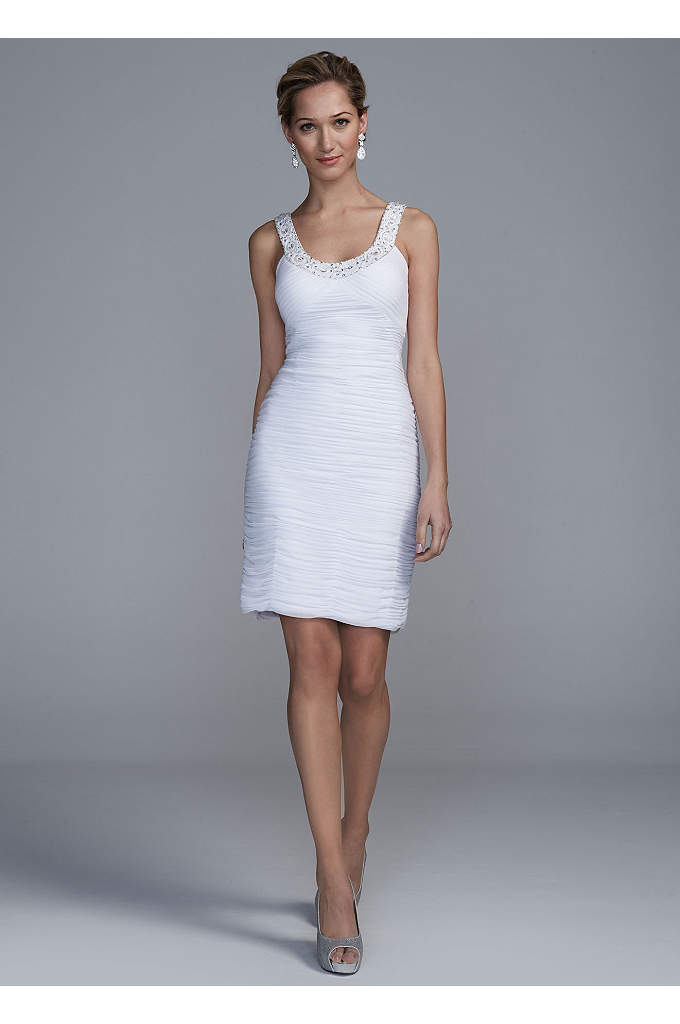 Short Allover Ruched Dress with Beaded Neckline - You will be sure to turn heads on