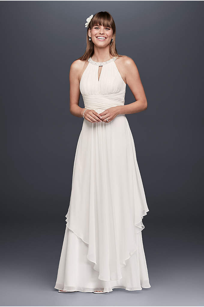 Long chiffon dress with beaded illusion bodice david 39 s for White beach wedding dresses for guests