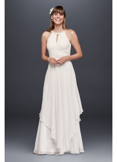 Long chiffon dress with keyhole detail david 39 s bridal for Davids bridal beach wedding dresses