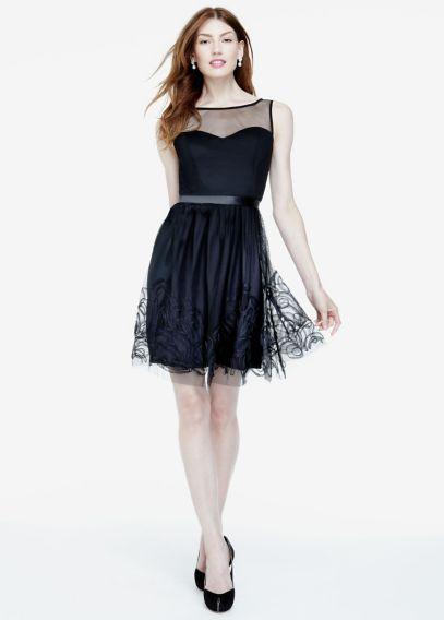 Sleeveless Illusion Neckline Dress With Satin Belt David