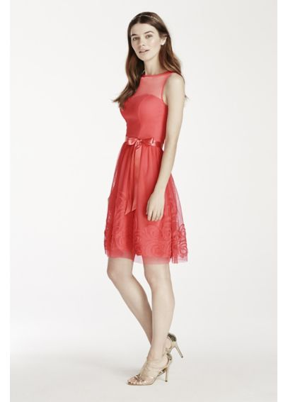 Sleeveless Illusion Neckline Dress with Satin Belt EJ4M6898