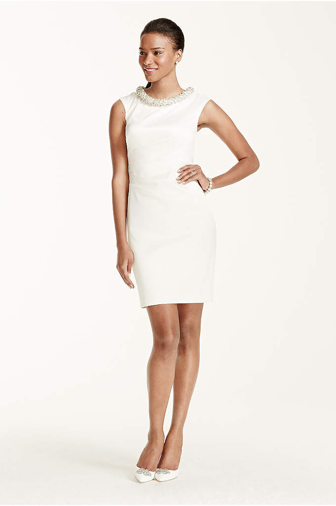 Cap Sleeve Pearl and Crystal Neckline Short Dress - You'll be an unforgettably chic bride as you
