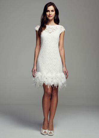 Short lace dress with feather trim detail davids bridal for Short feather wedding dress