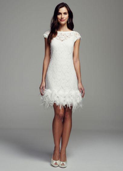 Short Lace Dress with Feather Trim Detail - Davids Bridal