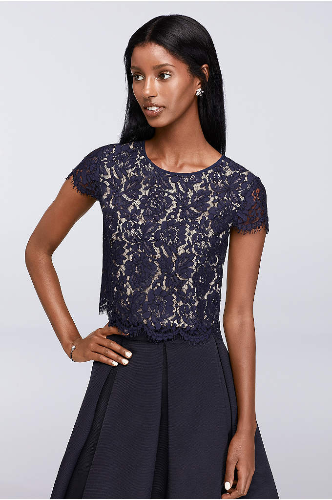 Cap Sleeve Lace Cropped Shell - Simply lovely, this cap-sleeve floral lace shell is