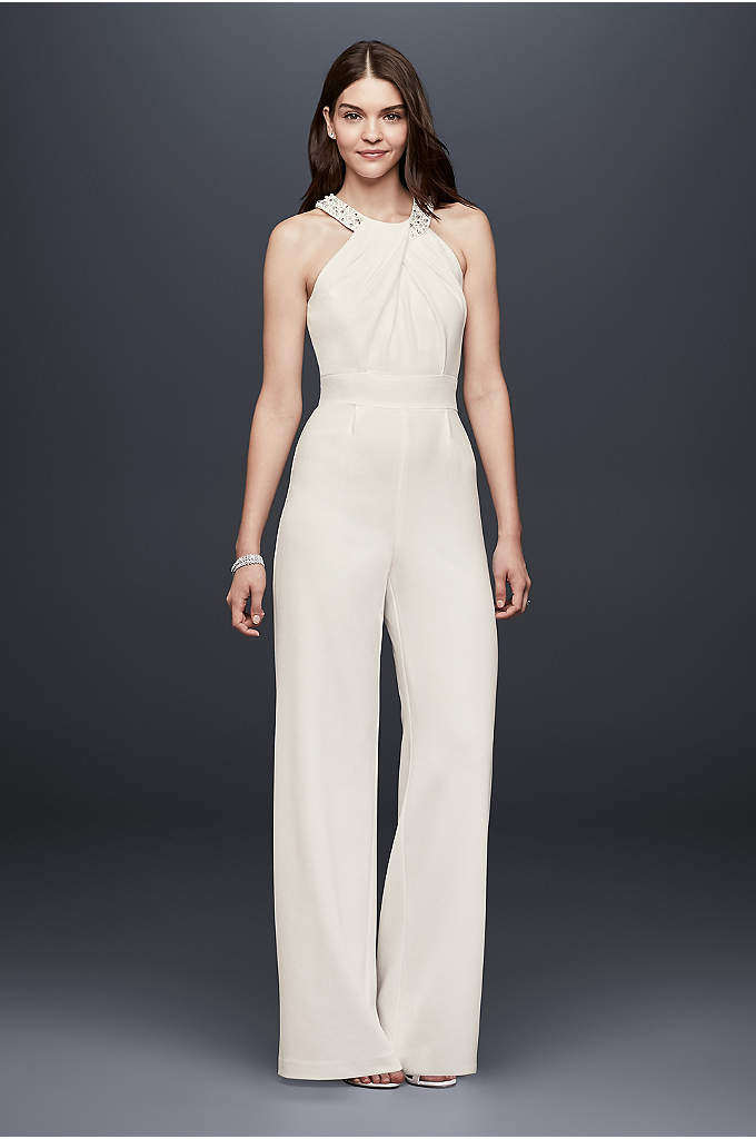 Crepe Wide-Leg Jumpsuit with Crystal Neckline - This pleated crepe wide-leg jumpsuit is a chic