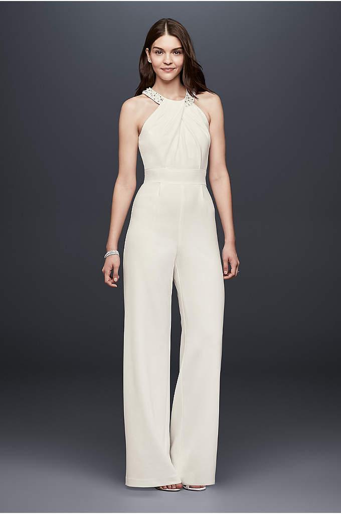 Crepe Wide-Leg Jumpsuit with Crystal Neckline - This pleated crepe wide-leg jumpsuit is a chic