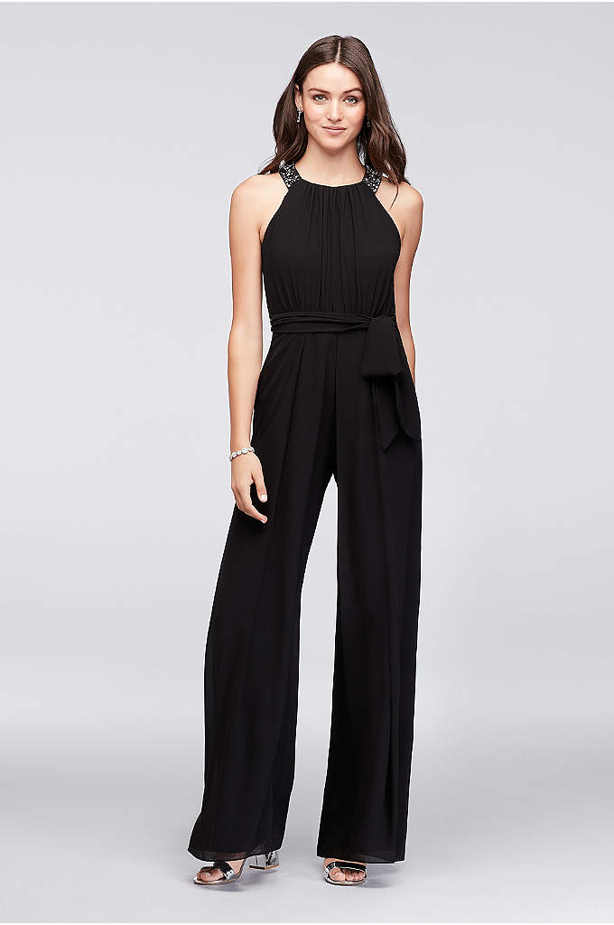 Chiffon Bridesmaid Jumpsuit with Beaded Neckline - Introduce a new element to bridal party outfitting
