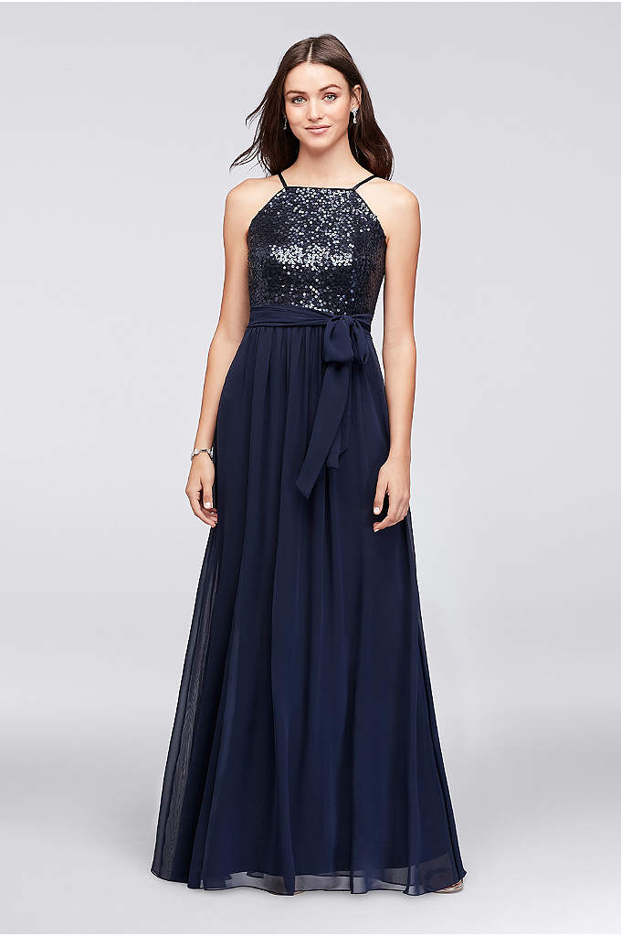 Sequin and Chiffon High-Neck Bridesmaid Dress - The perfect amount of glitz and glam for