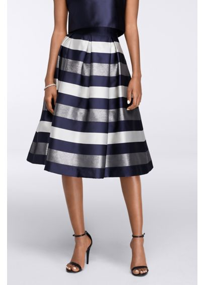 Midi Full Striped Jacquard Skirt with Box Pleats EJDM2367