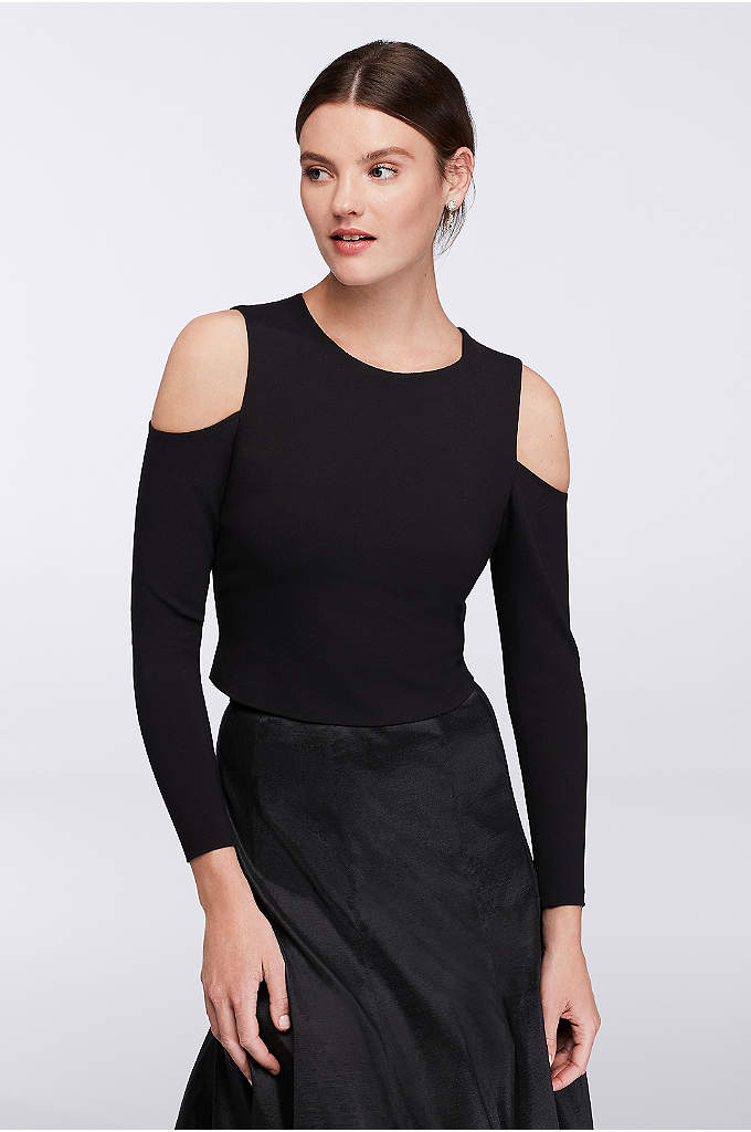 Long-Sleeve Cold-Shoulder Crop Top - For those that dare to bare, this on-trend