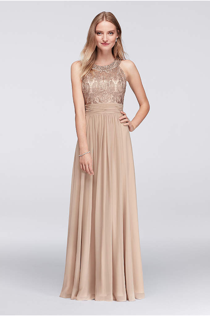 Lace Bodice Chiffon Gown with Jeweled Neckline - Sparkling jewels top the embroidered mesh bodice of