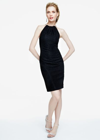 Sleeveless Glitter Knit Dress with Halter Necklace EJDM7294