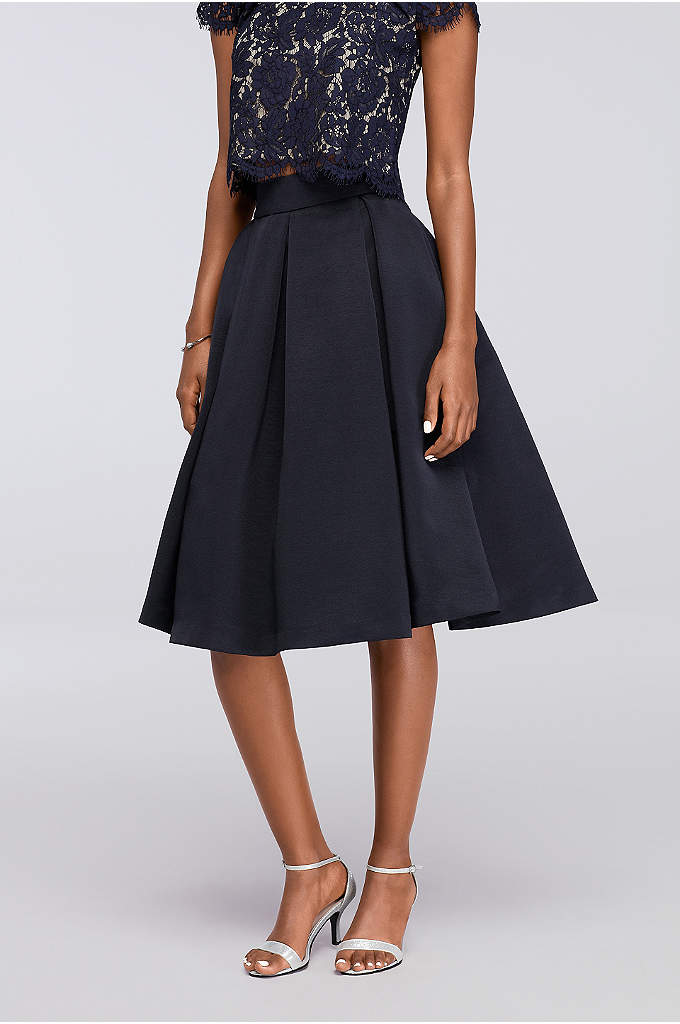 Midi Full Faille Skirt with Box Pleats - Silky, lustrous faille makes a beautiful start to