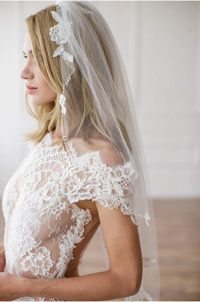 Alencon Lace Appliqued Veil - This airy single-tier veil is edged in pearl-