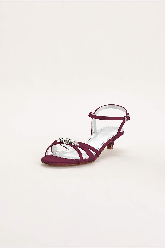 Dyeable Satin Low Heel Sandal with Rhinestones - These gorgeous sandals are the perfect example of