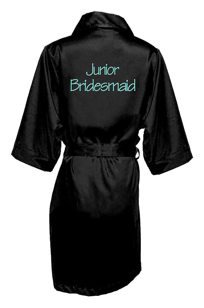 Embroidered Junior Bridesmaid Satin Robe - Wrap your Junior Bridesmaid in luxury with this