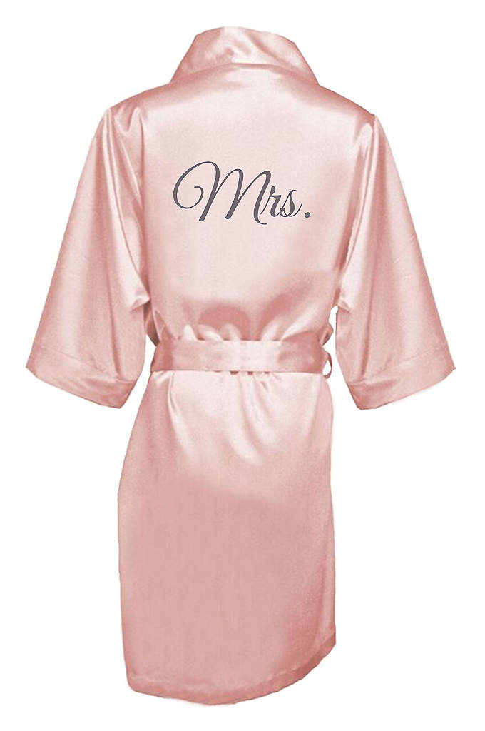 Embroidered Mrs. Satin Robe - The new Mrs. will be wrapped in luxury