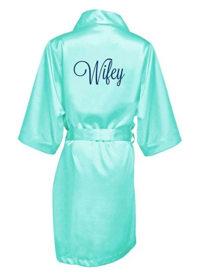 Embroidered Wifey Satin Robe - Wedding Gifts & Decorations
