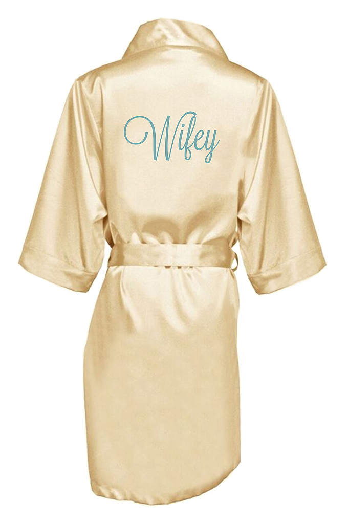 Embroidered Wifey Satin Robe - The new Wifey will be wrapped in luxury
