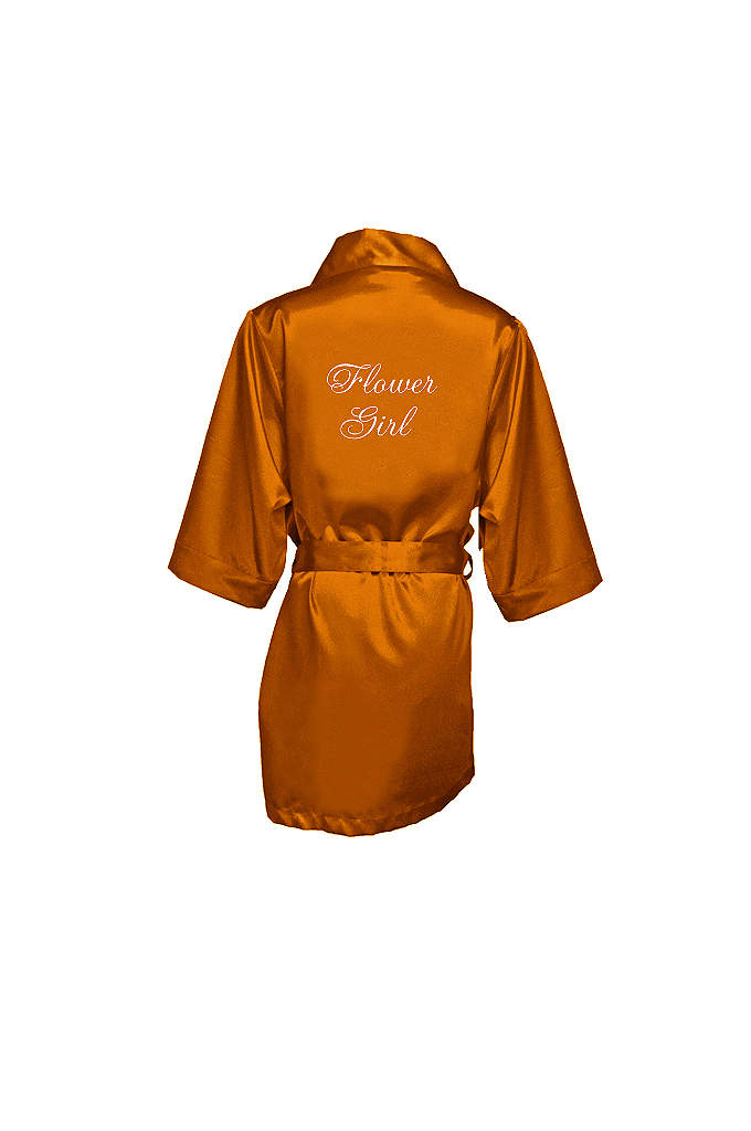 Embroidered Flower Girl Satin Robe - This adorable satin flower girl robe will make