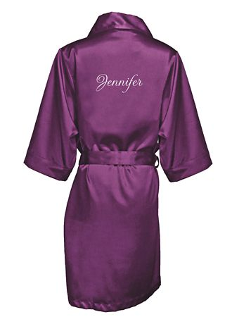 Embroidered satin robe