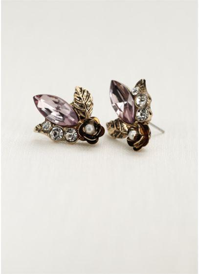 Mini Flower and Leaf Stone Earrings - Wedding Accessories