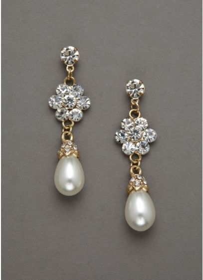 Pearl Drop and Floral Crystal Earring - Wedding Accessories