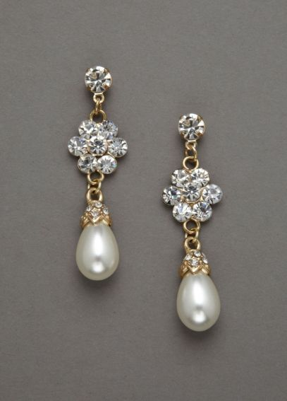 Pearl Drop and Floral Crystal Earring ER05006