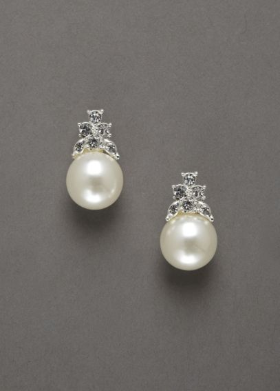 Pearl and Crystal Cluster Stub Earring ER08035