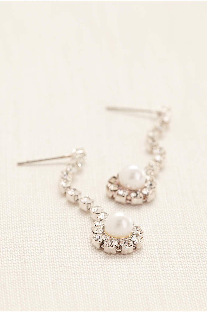 Crystal Linear Earings with Pearl Drop - These elegant linear earrings, accented with rhinestone chain