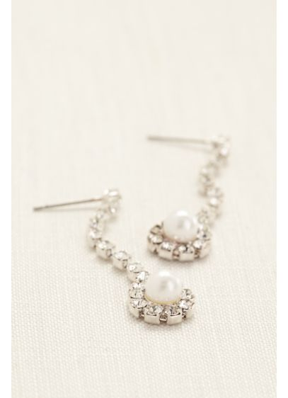 Crystal Linear Earings with Pearl Drop - Wedding Accessories