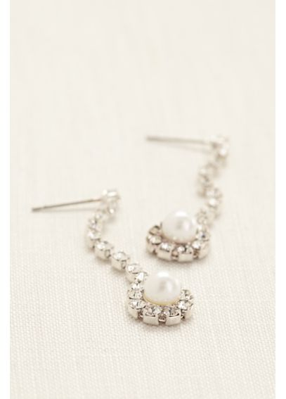 Crystal Linear Earings with Pearl Drop ER110710