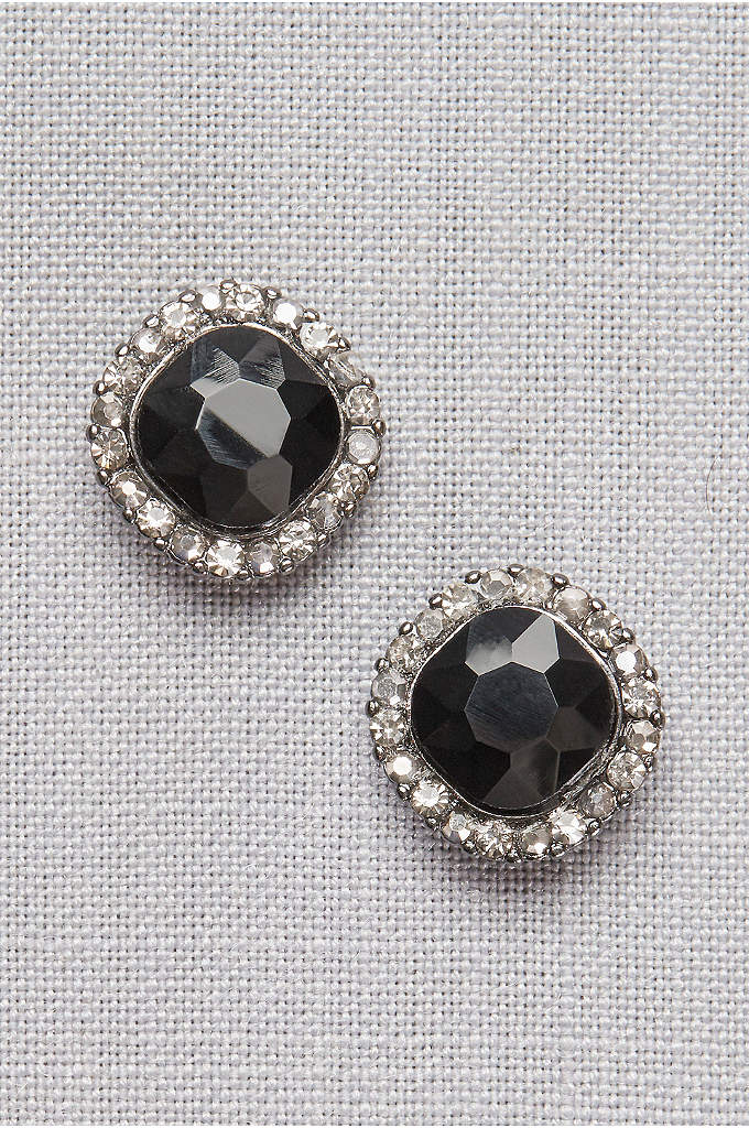 Black Crystal Pave Post Earrings - Add a touch of drama to an LBD