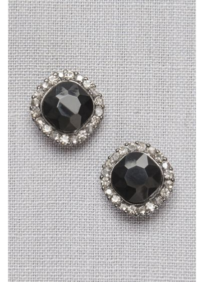 Black Crystal Pave Post Earrings - Wedding Accessories
