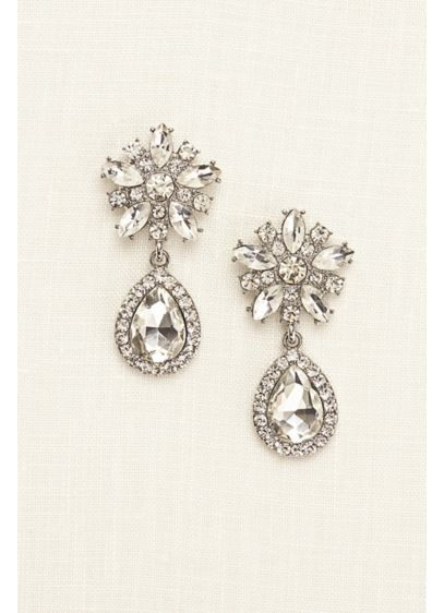 Starburst Crystal Teardrop Earrings - Wedding Accessories
