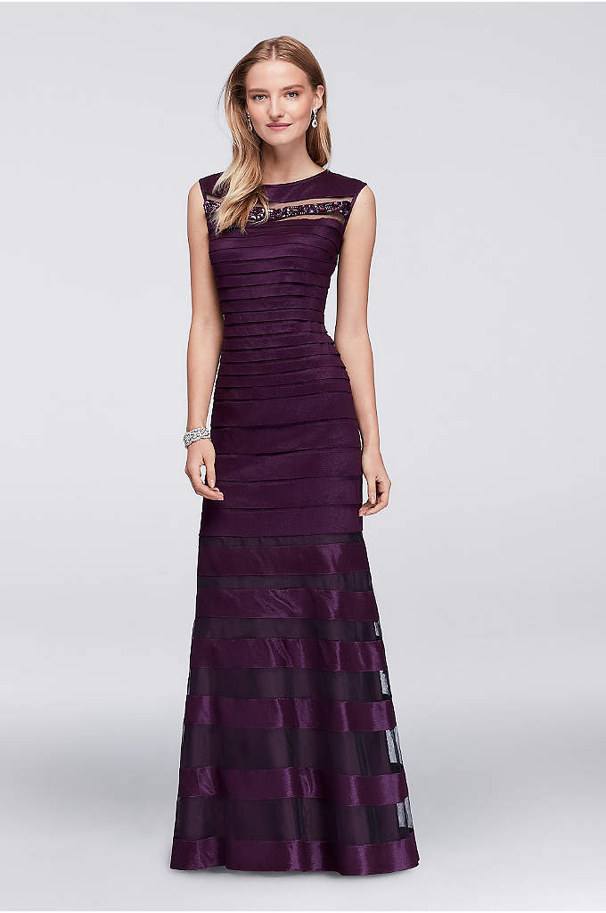 Pleated Stretch Taffeta Gown with Beading - Horizontal pleating and illusion insets create this taffeta