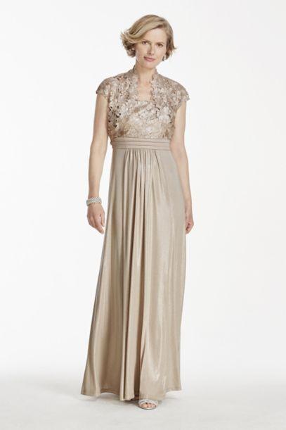Long Metallic Lace Jacket Dress | David's Bridal
