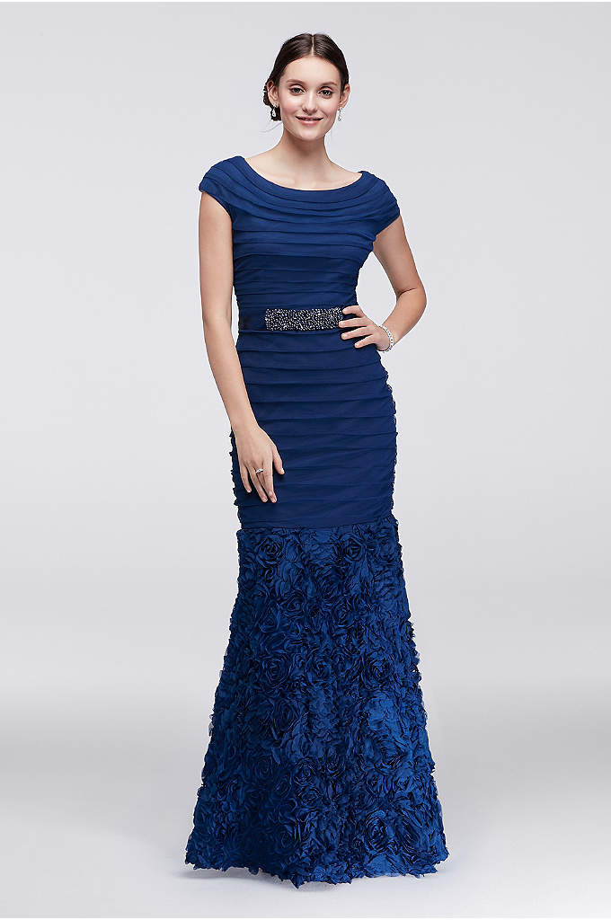 Long Tulle and Soutash Gown with Trumpet Skirt - Make a grand entrance in the elegant Mother