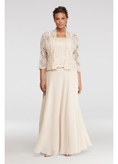 Petite Plus Size Dress with Sequin Lace Jacket | David's Bridal