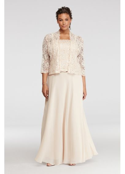Mock Three Piece Dress with Sequin Lace Jacket ES76540DB