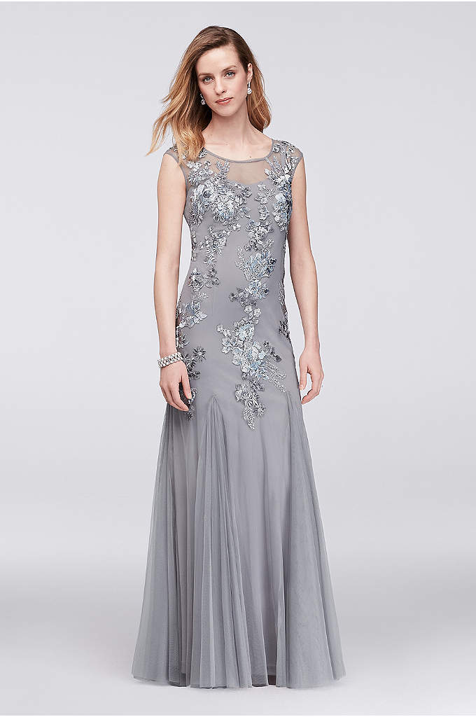 Beaded and Embroidered Illusion Mesh Trumpet Gown - Airy mesh, embellished with metallic floral embroidery, beads,