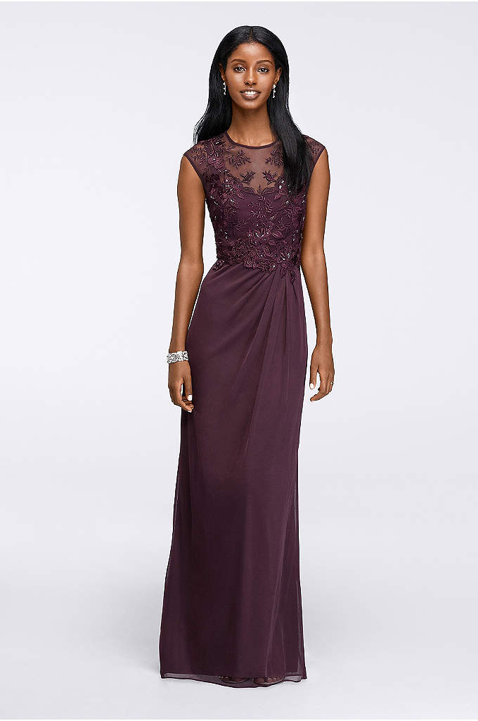Long Embroidered Cap-Sleeve Gown - A lavishly embroidered bodice with cap sleeves and